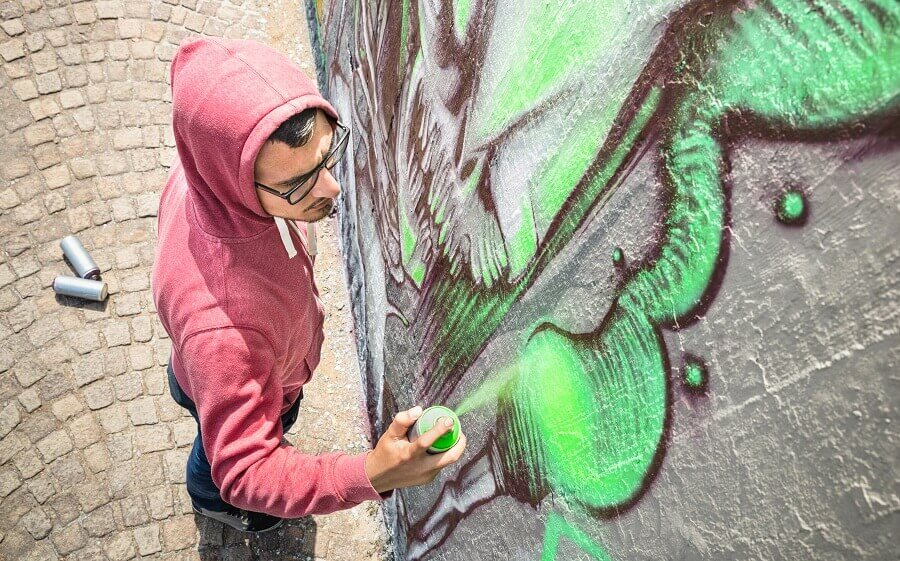 street painting with colourful graffiti